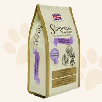Simpsons Complete Puppy Food Sensitive Salmon & Potato is a nutritious balanced grain free diet that is suitable for the early weaning stage for all breeds.