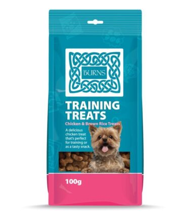 Burns Training Treats 100g Reward your prized pooch with healthy dog training treats. Developed by Veterinary Surgeon John Burns, these delicious bone-shaped chicken and brown rice treats are natural, hypoallergenic and easy to digest with added chicken livers to make them extra tasty. Dogs of all ages will love these treats and the small kibble size will appeal to puppies, toy and small breed dogs. Be sure to adjust your dog's daily feeding amount to prevent overfeeding.