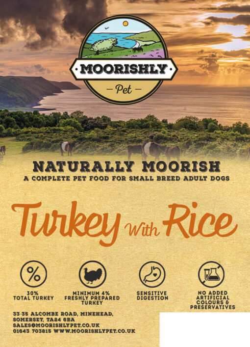 Naturally Moorish Quality Small Adult Bite Dog Food with Turkey and Rice